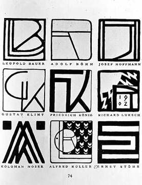 Monograms of nine Jugendstil artists: Leopold Bauer, Adolf Bohm (1861-1927), Josef Hoffmann (1870-1956), Gustav Klimt (1862-1918 of artist Unbekannt, Art, Austrian, Fin, German, Nouveau, Siecle