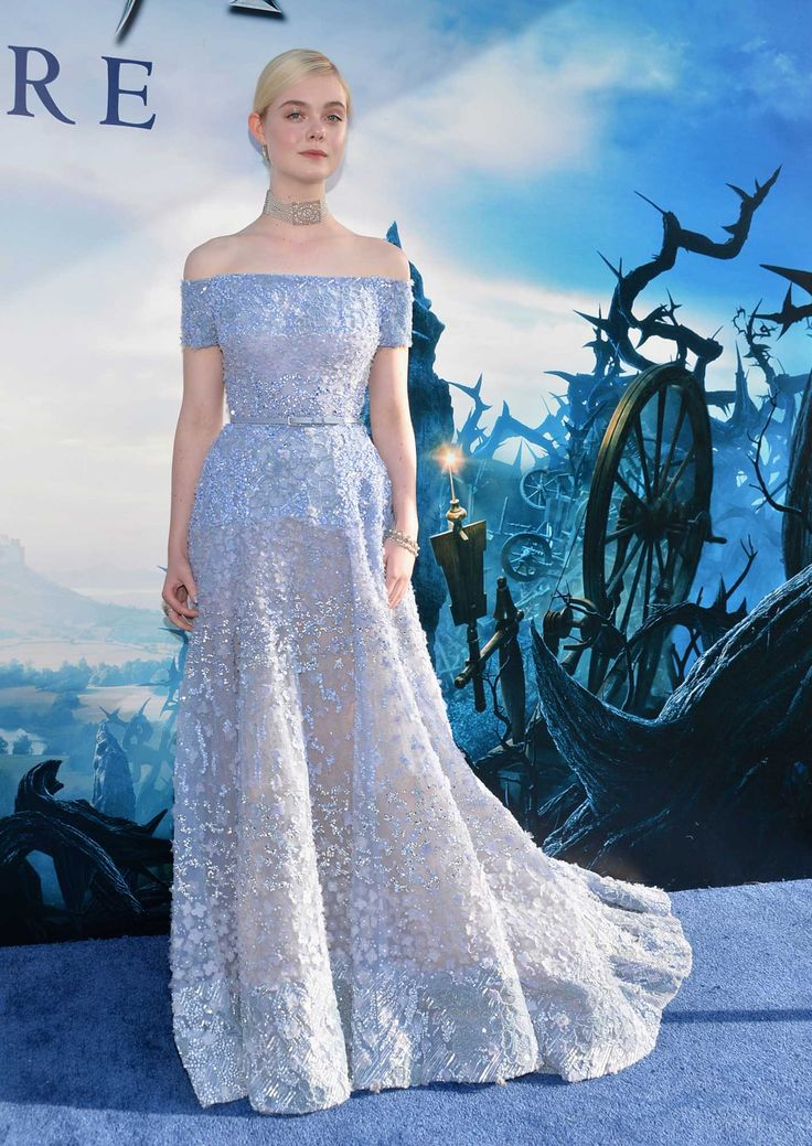 "For the world premiere of ""Maleficent,"" Fanning donned a glittering, off-the-shoulder Elie Saab gown. Princess perfect."