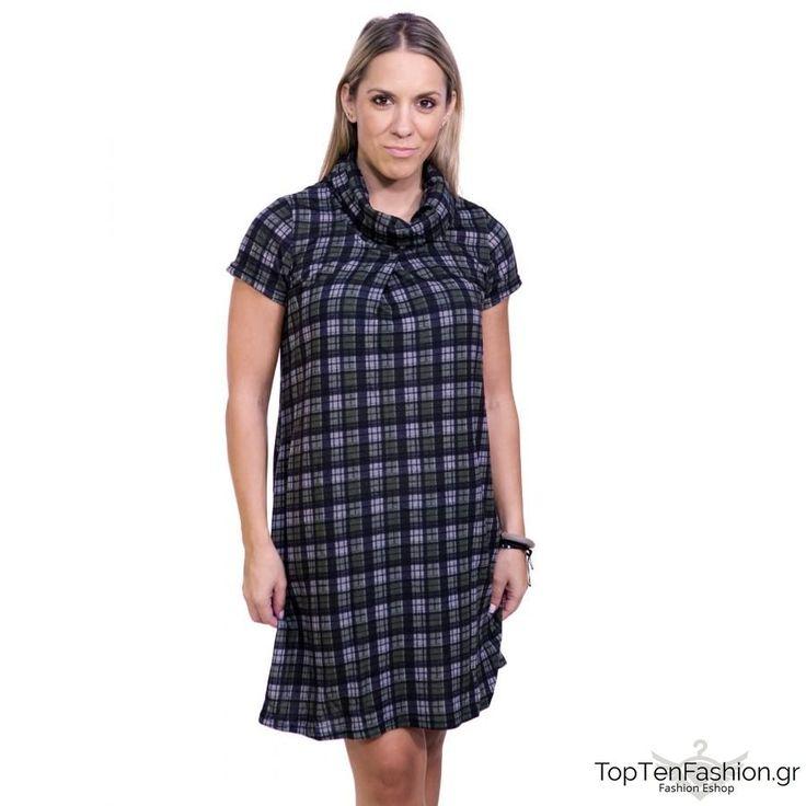 ATTRATTIVO Γυναικείο ντραπέ καρό φόρεμα