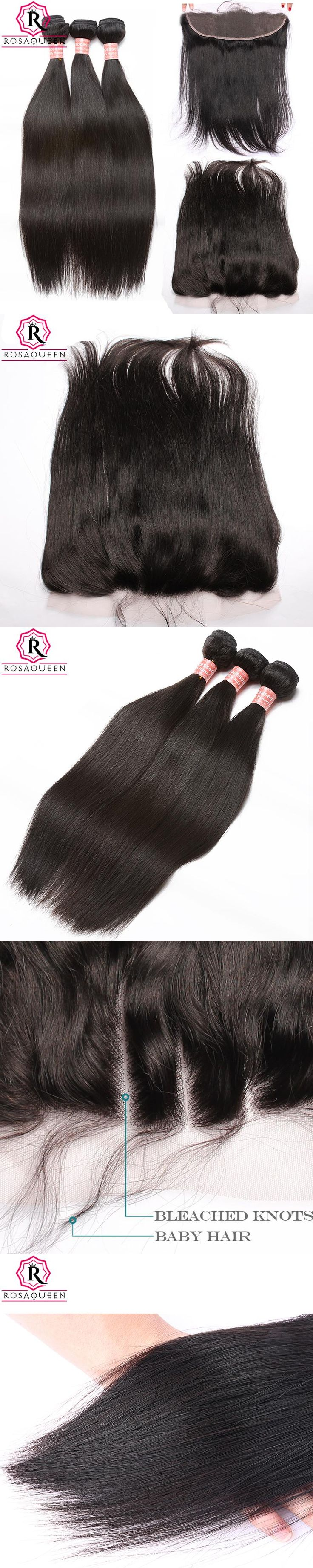 13x4 Lace Frontal Closure Straight Brazilian Hair Weave 4 Pcs 3 Human Hair Bundles With Closure Virgin Rosa Queen Hair Products