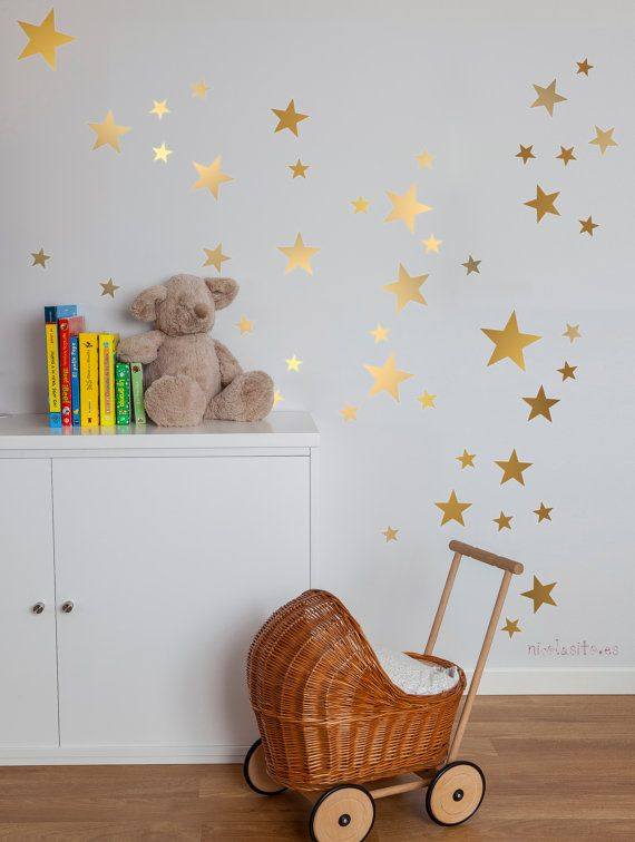 Lovely golden Stars Wall Decal Vinyl Sticker. Looks great everywhere, on kids room, playrooms, and also, applied to furnitures. With our decorative