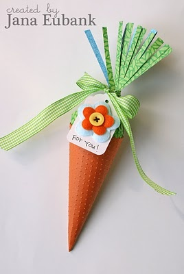 Cone-Shaped Carrot Treat Holders: Box Tutorials, Gift, Easter Crafts, Treat Holders, Carrots, Cone Shaped Carrot, Jana Eubank, Craft Ideas