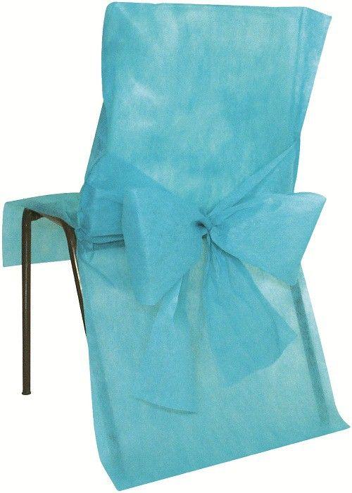 16 euros les 10 10 housses de chaise mariage turquoise avec nud - Housse De Chaise Mariage Jetable