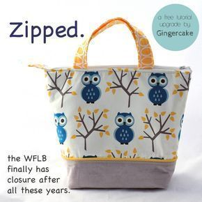 Zip top bag lined. This is technically a lunch bag pattern, but it could be just any generic zip top tote bag.