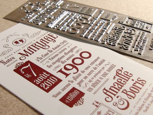 I love this letterpress invitation there is a lot of personality and great fonts and a nod to Victorian newspapers