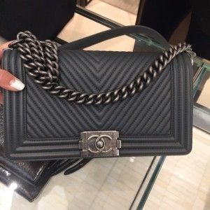 Chanel Dark Navy Micro Chevron Boy Bag - Pre Fall 2014