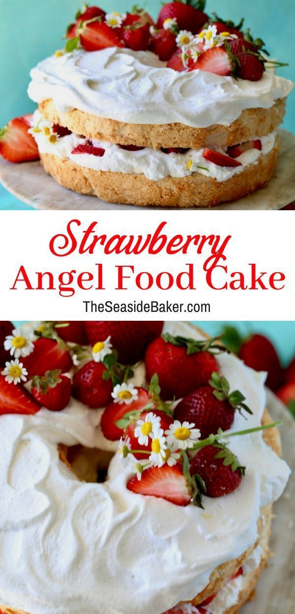 Strawberry Angel Food Cake Strawberry Angel Food Cake Angel Food Cake Desserts Strawberry Recipes
