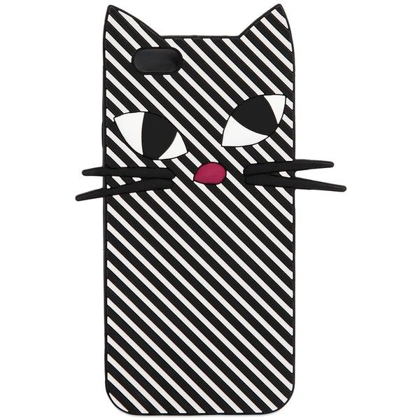 Lulu Guinness Women Kooky Cat Stripe Silicone Iphone 6 Case (130 BRL) ❤ liked on Polyvore featuring accessories, tech accessories, phone cases, phone, cats, phonecase and lulu guinness