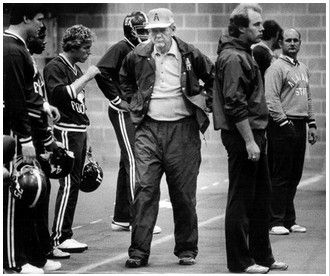 """Paul William """"Bear"""" Bryant preparing for his last game, the 1982 Liberty Bowl. Paul Bear Bryant -  (September 11, 1913 – January 26, 1983) was an American college football player and coach. He was best known as the longtime head coach of the University of Alabama football team. During his 25-year tenure as Alabama's head coach, he amassed six national championships and thirteen conference championships."""