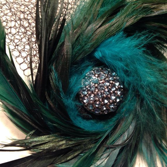 Feather fascinator hair accessory or brooch  on Etsy, $16.00 CAD   @nicoleanderson - this is what I was thinking