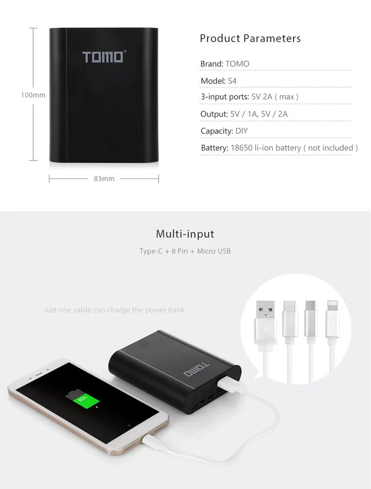 TOMO S4 4 x 18650 Li-ion Battery DIY Smart Power Bank Charger Case Diy Box with 3 Input Interface