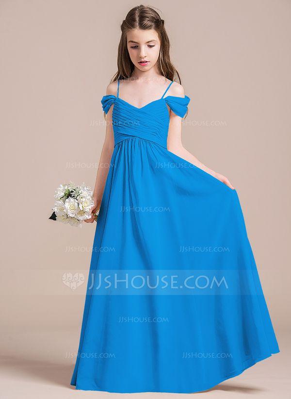 a939e0a774fc A-Line/Princess Off-the-Shoulder Floor-Length Chiffon Junior Bridesmaid  Dress With Ruffle