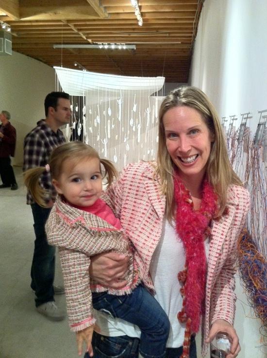Lori Dennis And Daughter Elle In Matching Pink Tweed At Melrose Pop Up Interior Design Event