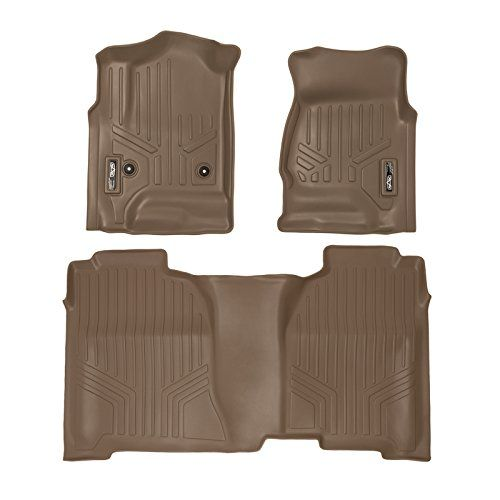 MAXFLOORMAT Floor Mats for Chevrolet Silverado / GMC Sierra Crew Cab (2014-2017) Complete Set (Tan). For product info go to:  https://www.caraccessoriesonlinemarket.com/maxfloormat-floor-mats-for-chevrolet-silverado-gmc-sierra-crew-cab-2014-2017-complete-set-tan/
