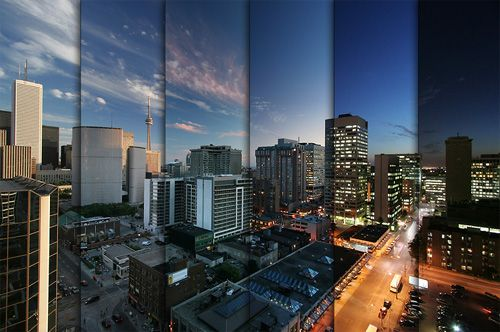 JEFF - This is a photo of a cityscape which was taken from the same location at different times to capture the day/night cycle. This was done by combining each photo of different times of the day into one. This type of sequence shows a clear comparison from the first frame to the last frame.