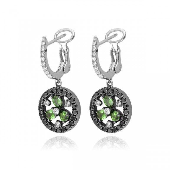 18kt white gold drop black diamond earrings. $3,185.