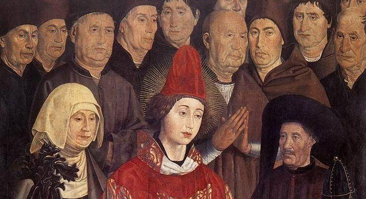 Lissabon, Portugal: Hier bezoeken wij het Museu Nacional de Arte Antiga waar we het altaarstuk gewijd aan de heilige Vincentius (circa 1460) vinden, gemaakt door de 15de-eeuwse Portugese kunstschilder Nuno Gonçalves. Zijn roem is voornamelijk te danken aan een aan hem toegeschreven veelluik bestaande uit zes panelen, gewijd aan de heilige Vincent, de beschermheilige van Lissabon.   Nuno Gonçalves, Detail uit het altaarstuk over de heilige Vincentius, ca. 1460.