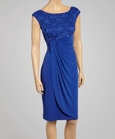 Take a look at this Royal Sequin Cap-Sleeve Dress on zulily today!
