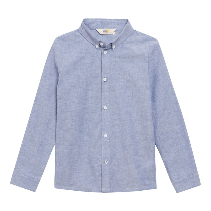 Little Eleven Paris Light Blue Paris Shirt: This button down shirt by Little Eleven Paris has a embroidered Logo on the chest with buttons down the centre front cuffs and collar. This Shirt matches perfectly with Little Eleven Paris Encre Navy Blue Chino's.