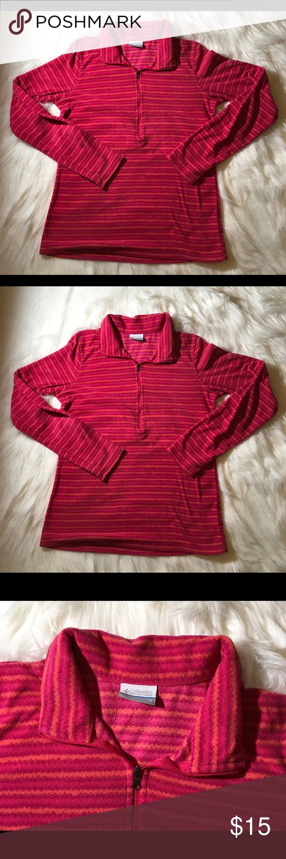 """Columbia Women's Long Sleeve 1/4 Zip Shirt S Columbia Women's Long Sleeve Athletic T-Shirt Lightweight Fleece, Size Small  Striped- Pinks with Orange  1/4 Zippers  Gently used- some interior pilling Arm Pit to Arm Pit 19"""" laying flat  Total Length 25"""" Clean and Smoke Free Home Columbia Tops Tees - Long Sleeve"""