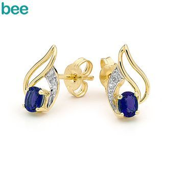 Buy Sapphire and Diamond Petal Stud Earrings (BEE-55071/S) online at Chain Me Up