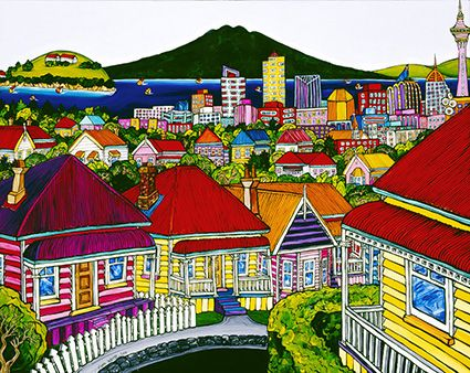 The Harbour from Ponsonby - by Fiona Whyte. A colourful impression showing one of Auckland's most character filled suburbs. Available as a matted mini-print from www.imageault.co.nz