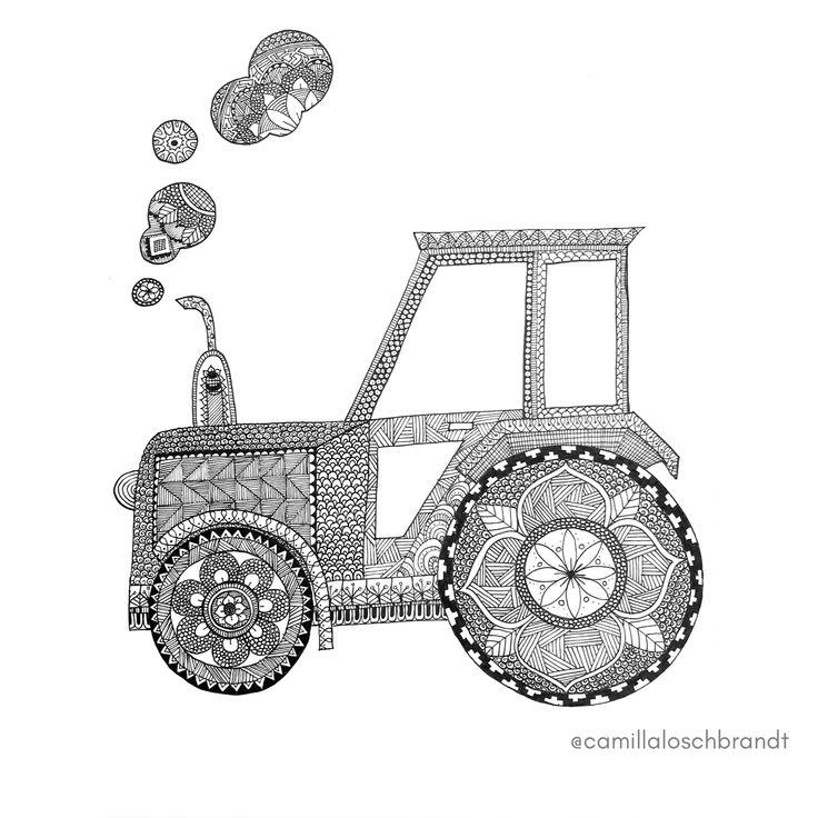 Tractor - zentangle