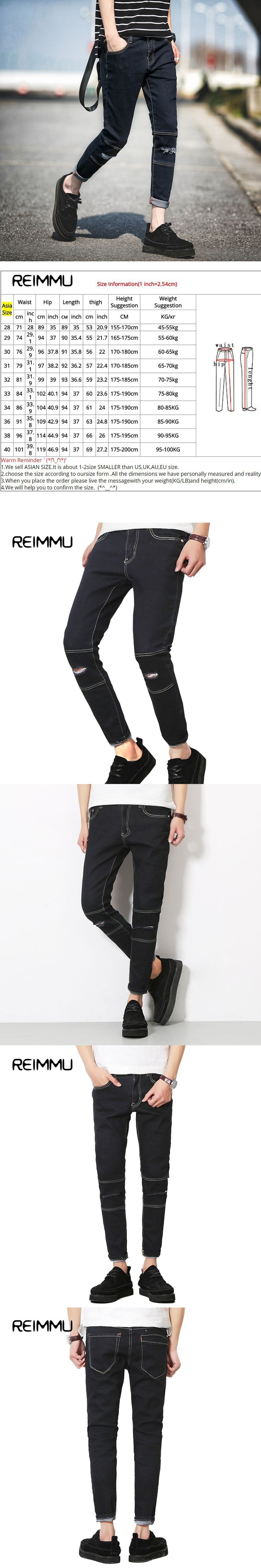 Reimmu Black Jeans Men Pants Hot Sale Slim Fit Casual Men Ripped Jeans New fashion Brand-Clothing Plus Size Trousers Male Jeans