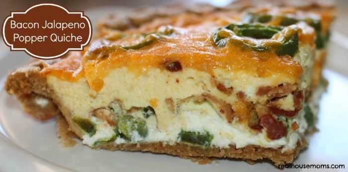 Bacon Jalapeno Popper Quiche | Real Housemoms  #breakfast