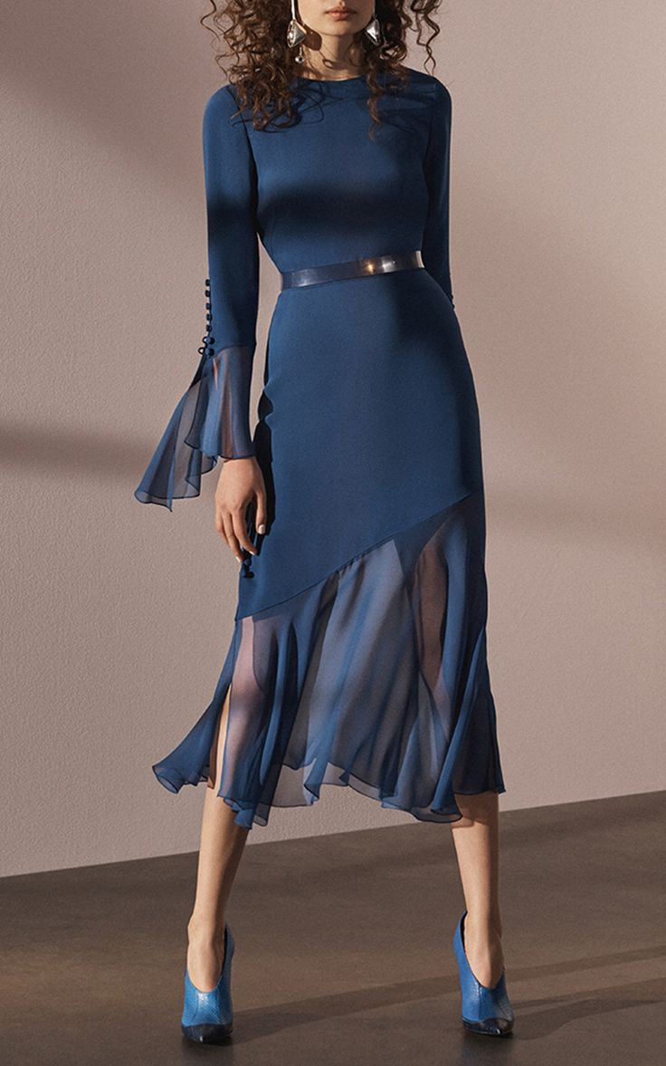 Ruffle Cuff Long Sleeve Dress by Prabal Gurung | Moda Operandi
