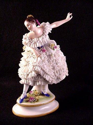 Antique Volkstedt Porcelain Dresden Lace Ballerina Figurine | eBay