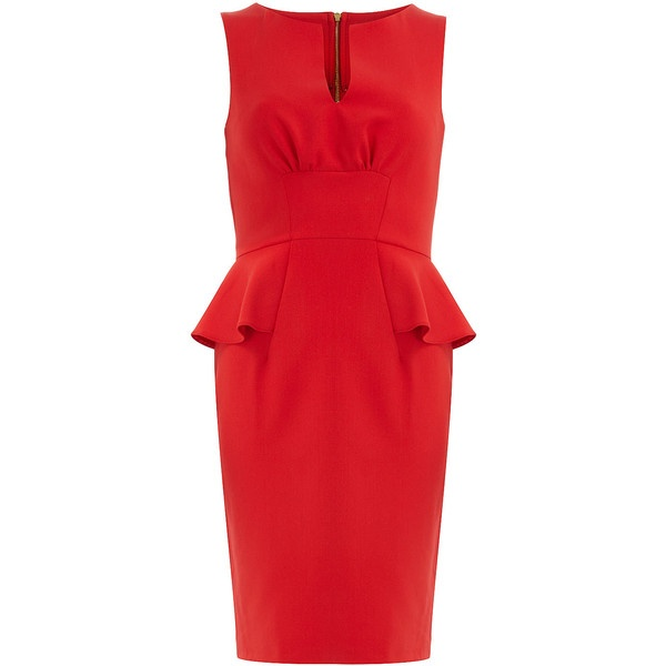 Red split neck peplum dress 79 liked on polyvore my style