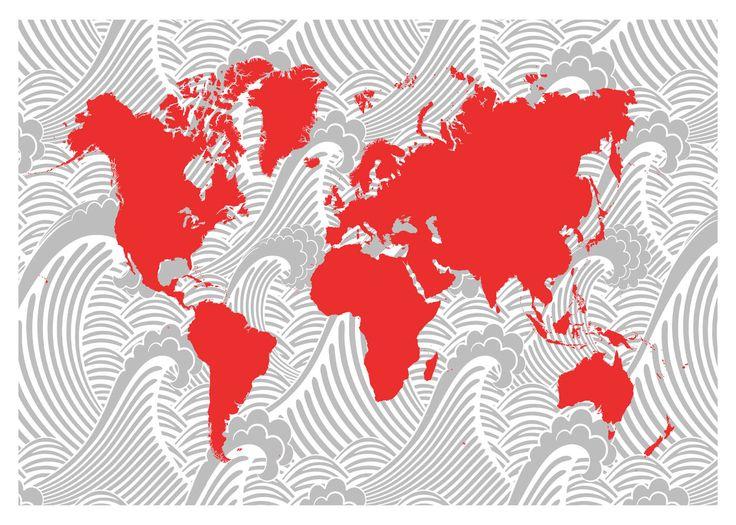 world map 20x30 art deco ocean waves print poster via etsy mapa mundial pinterest. Black Bedroom Furniture Sets. Home Design Ideas