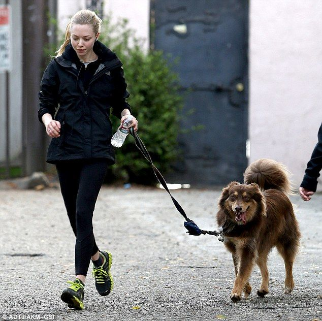 Amanda Seyfried running with her dog, Finn... http://blog.petspyjamas.com/hes-my-best-friend-amanda-seyfried-and-her-dog-finn/