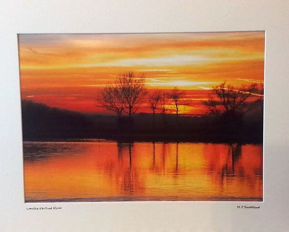 """Sunset on Norfolk Broads Signed A3 Limited Edition Landscape Photograph in 50cm x 40cm 20""""x 16"""" Mount."""