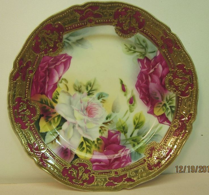 Gorgeous Antique Nippon Hand Painted Roses Floral Plate Moriage Beaded Gold Gilt & 1330 best Nippon images on Pinterest | Porcelain Chocolate coffee ...