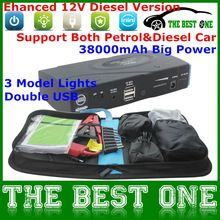 38000mAh Portable Emergency Car Jump Starter Multi-Function Car&Mobile Power Bank With 4 Plug 3 Model Lights Double USB(China (Mainland))