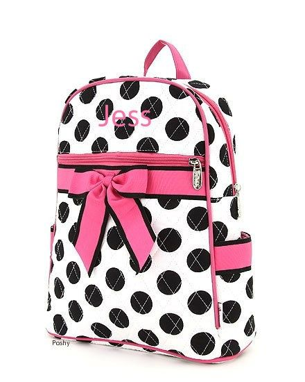 Personalized Kids Backpacks in Pink and Black Polka by PoshyKids, $28.00