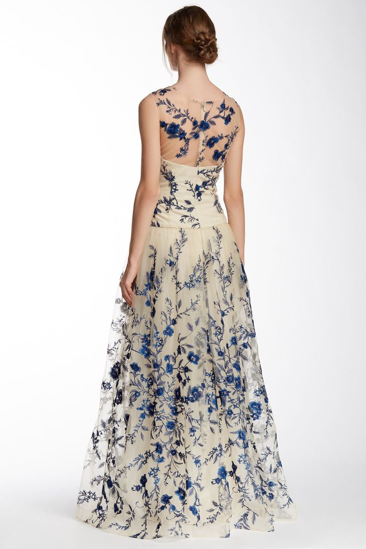 Marchesa Notte | Illusion Neck Floral Embroidered Gown
