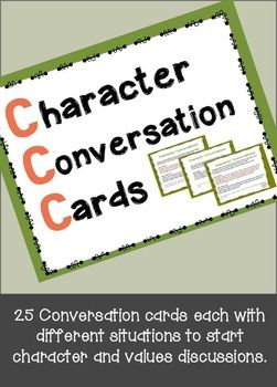25 task cards with real situations and a series of questions at the end to get children talking about what they would do or say in these situations.  Great for mealtime too.| Character Conversation Cards- November