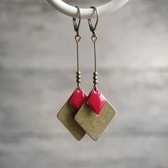 Boucles d'oreilles haute fantaisie losanges bronze et rouges - bijoux de créateur