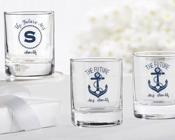 Personalized Shot Glass Votive Holder   Nautical Bridal Shower Collection