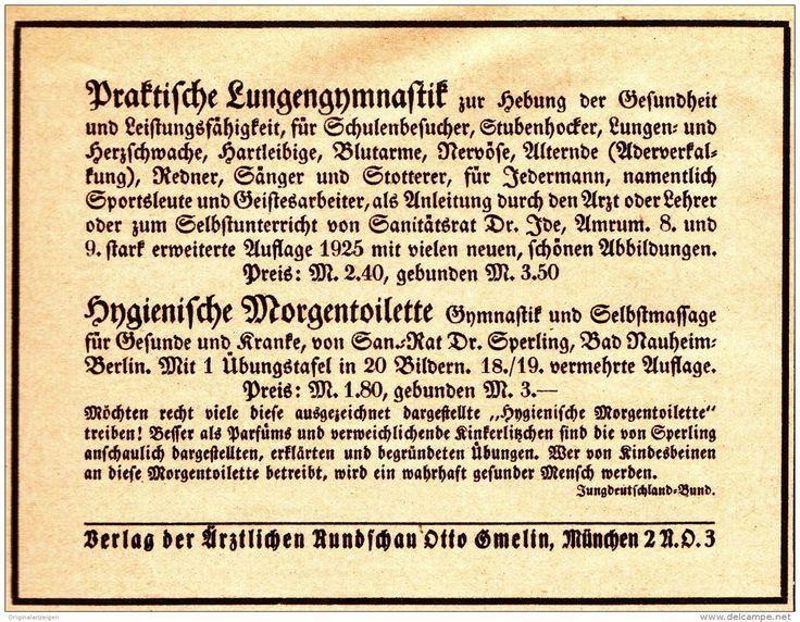 Original-Werbung/Anzeige 1926 - LUNGENGYMNASTIK / MORGENTOILETTE /  ÄRZTLICHE RUNDSCHAU GMELIN -  - ca. 125 x 100 mm