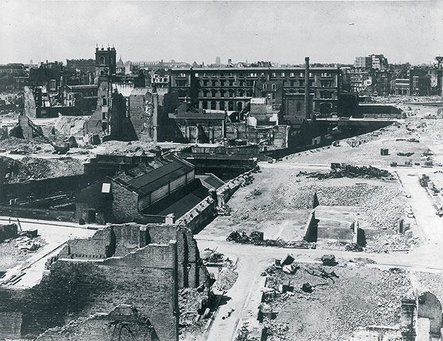 An early view of the the bomb-damaged site that was to become the Barbican, London