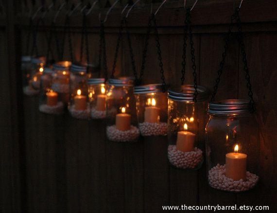 Mason Jar Lanterns Hanging Tea Light Luminaries - Set of 10 - Black Chain - Wide Mouth Mason Jar Style