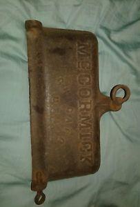 a old mccormick cast iron tool box lid horse drawn mower international harvester
