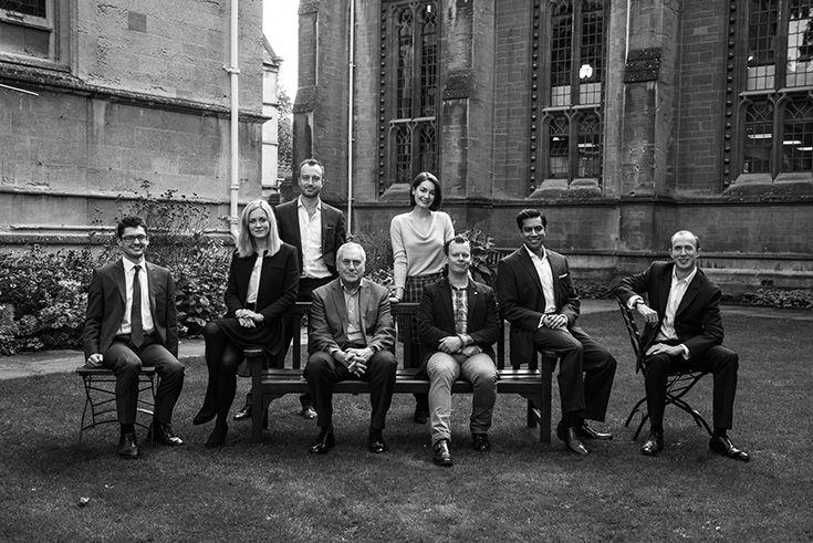 Left to Right: Dr Benjamin Martill, Lucy Fisher, Nigel Holmes, Sir Ivor Crewe, Ashlee Godwin, Hereward Mills, Minesh Shah, Jon Bishop.