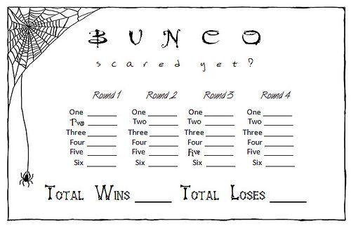 halloween Bunco Score Card image
