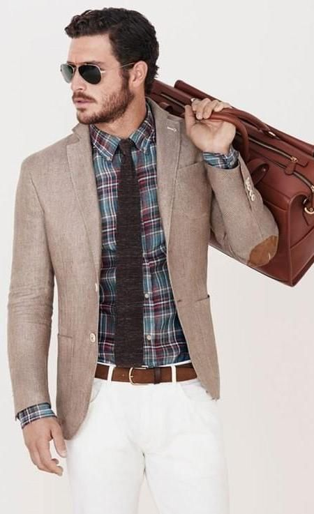 Elbow patches, tie texture, a shirt with a rustic pattern. Apologies, the colors make no sense. White pants? Who styled that?