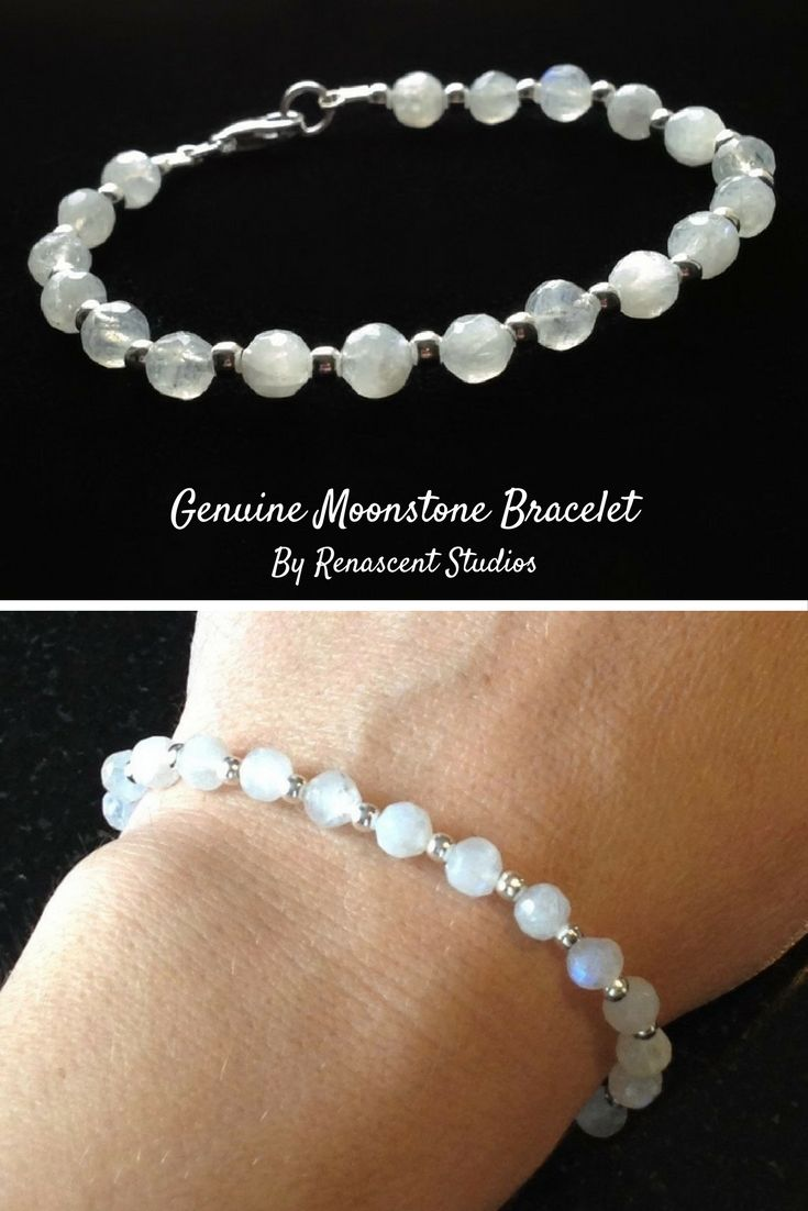 Moonstone bracelet for women features gorgeous all natural gemstones. These semi-precious moonstones have iridescent white colour with flashes of blue throughout.